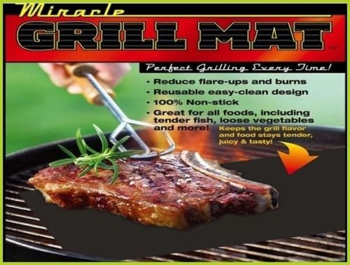 Miracle Grilling Mat Set of 2 Non Stick Grill Mats BBQ
