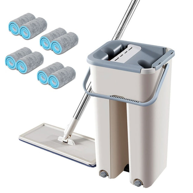 Magic Cleaning Mops Free Hand Spin Cleaning Microfiber Mop With Bucket Flat Squeeze Spray Mop Home Kitchen Floor Clean Tools
