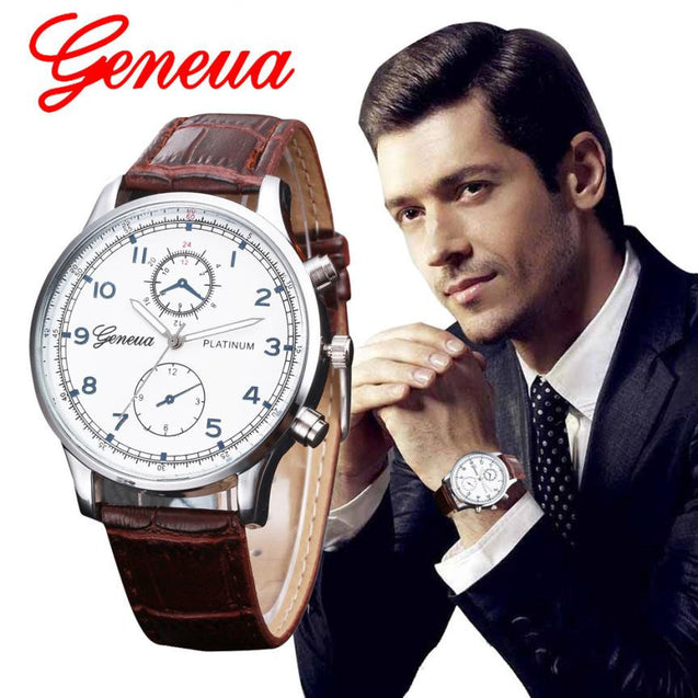 Relojes 2017 New Fashion Geneva Watch Men Faux Leather Wristwatches For Men Casual Quartz Watch Male Clock  Relogio Masculino