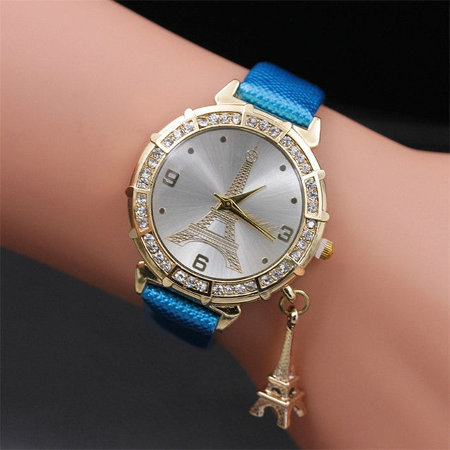 2018 Hot sale Women Quartz Wrist The Eiffel Tower Rhinestone pendant Wrist Watch Female Clock relogio feminino