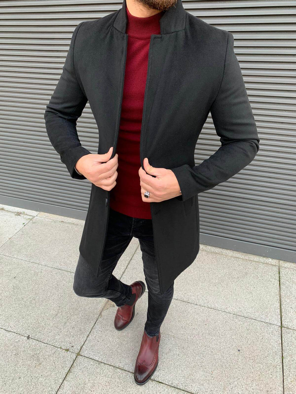 TED SLIM FIT BLACK LONG COAT