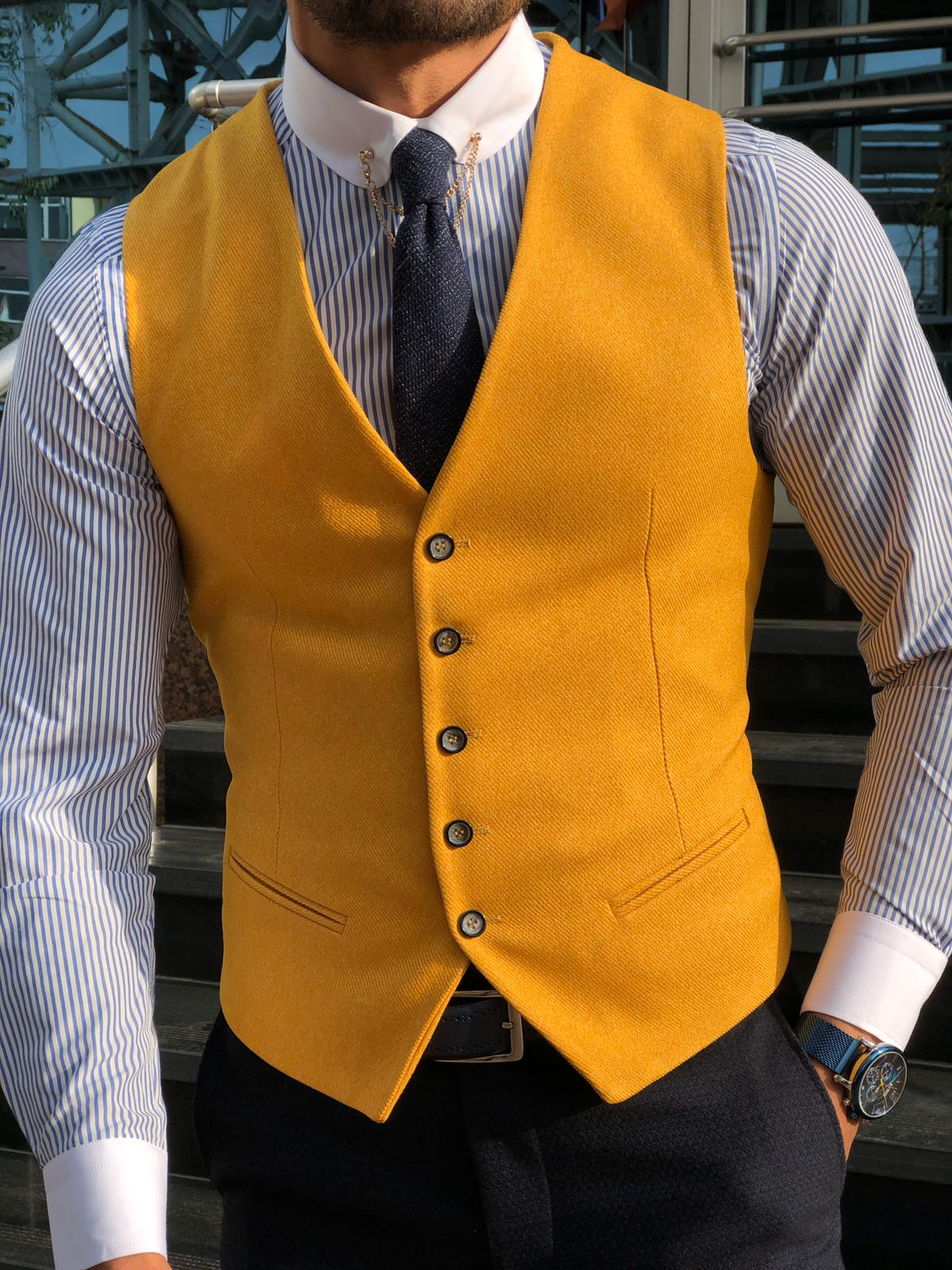 MUSTARD COTTON VEST - Hollo Men