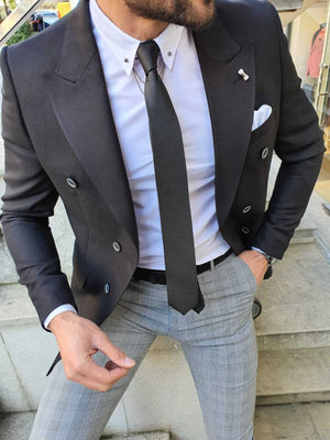 BLACK DOUBLE BREASTED JACKET - Hollo Men