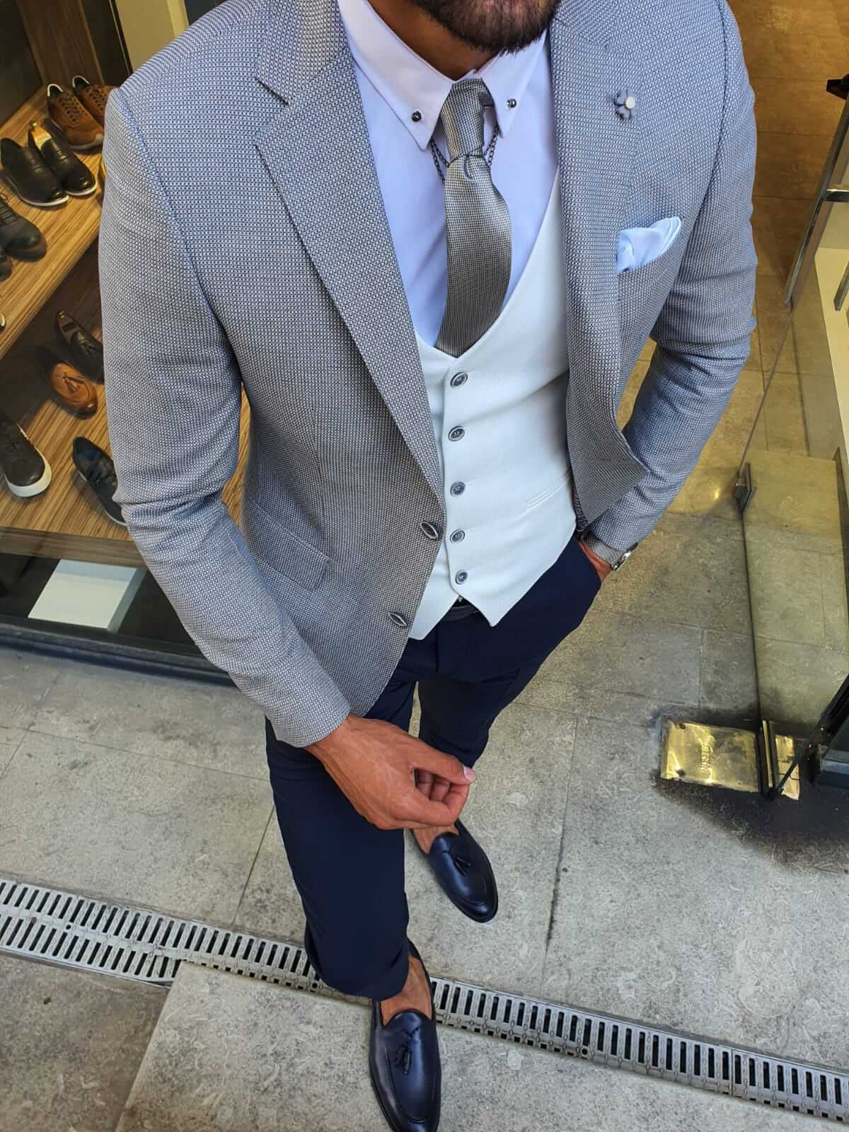 HAMPTON GRAY PLAID SUIT - Hollo Men