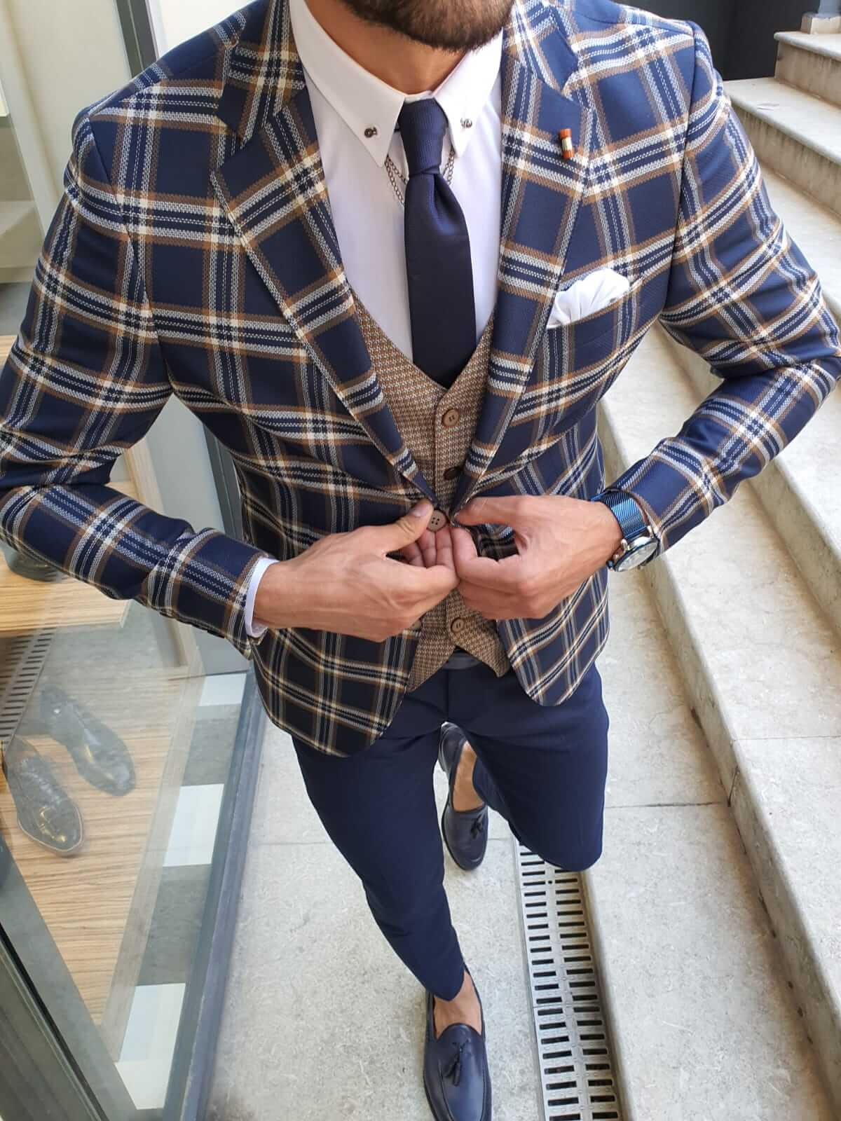 VENICE CAMEL & NAVY PLAID SUIT - Hollo Men