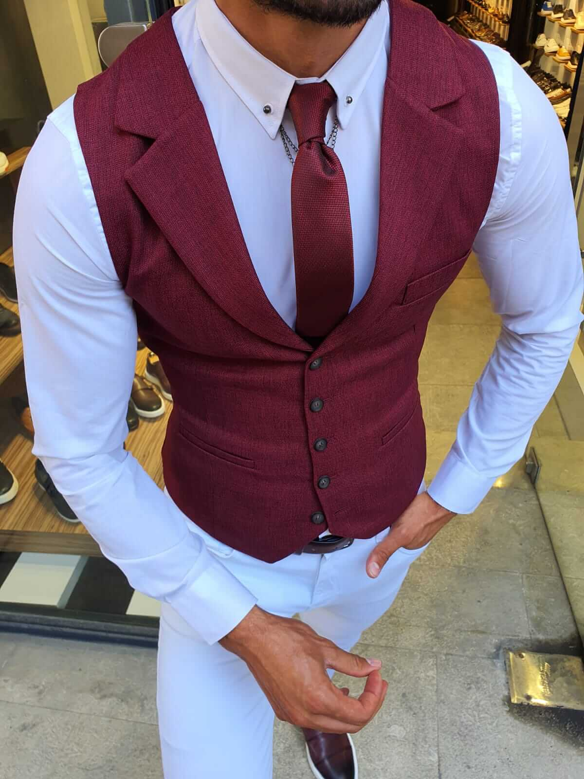 PRESTON CLARET RED VEST - Hollo Men