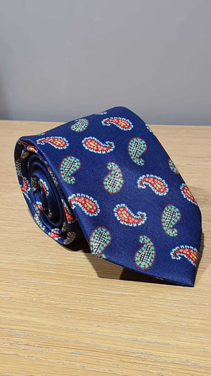 NAVY BLUE TIE & POCKET SQUARE - Hollo Men