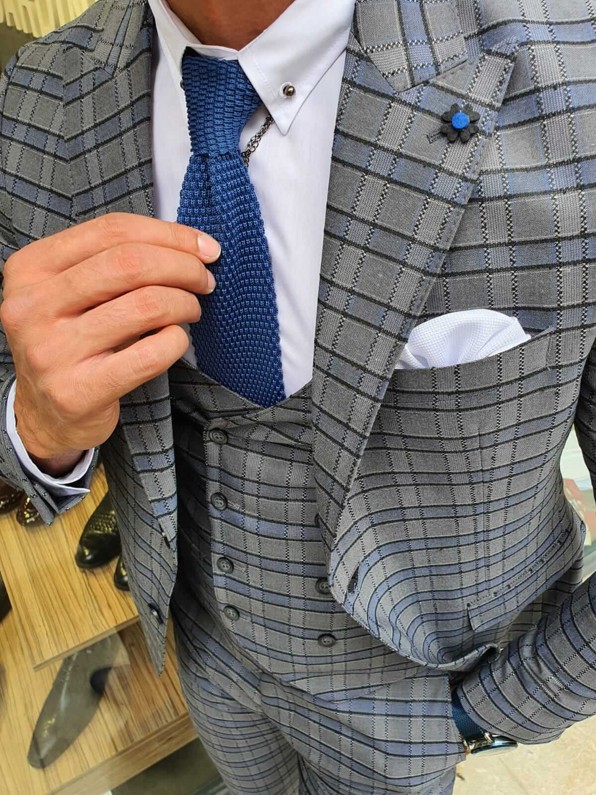 PATTERNED GRAY SUIT - Hollo Men