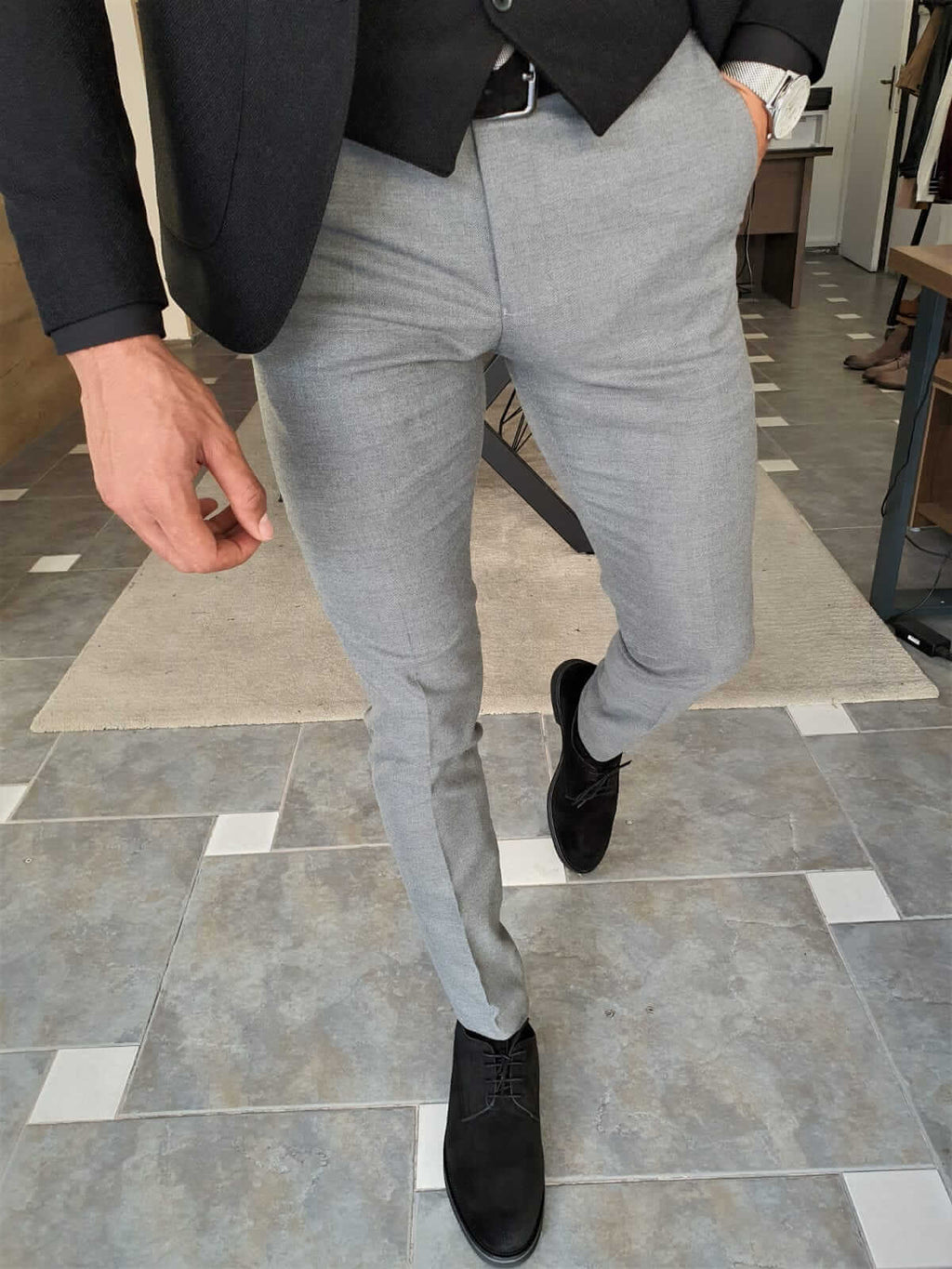 FIT GRAY COTTON PANTS - Hollo Men