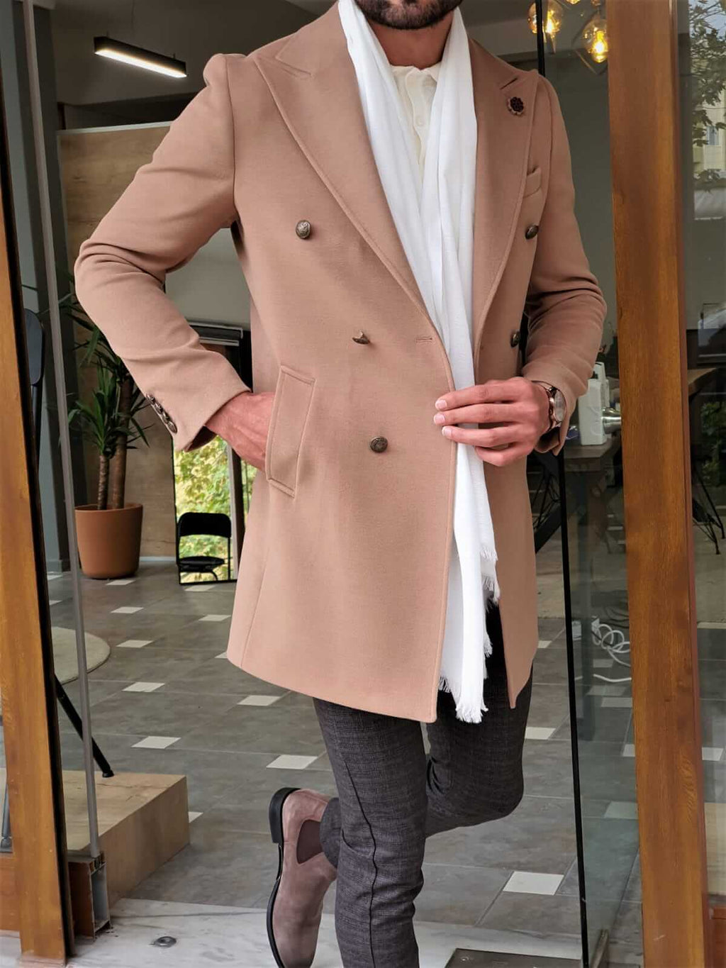 COLDEN DOUBLE BREASTED BEIGE WOOL COAT - Hollo Men