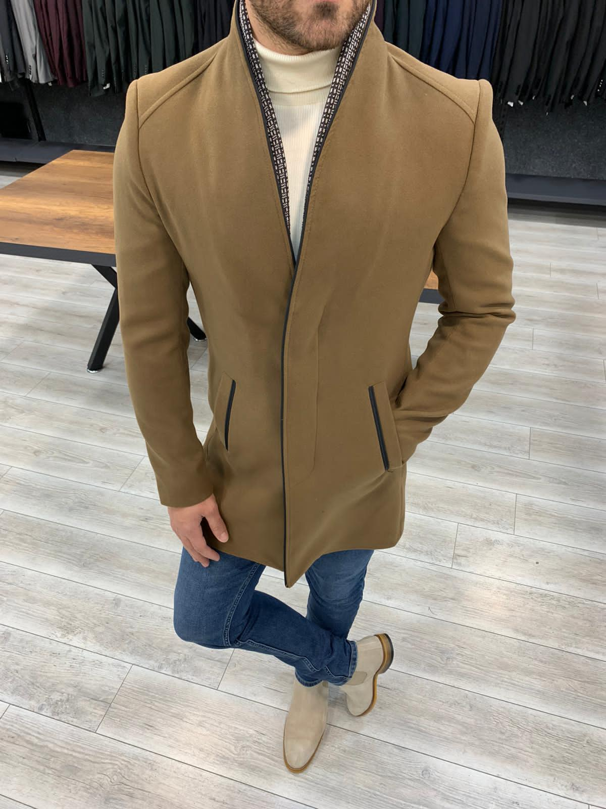The Danica Camel Stamp Coat - Hollo Men