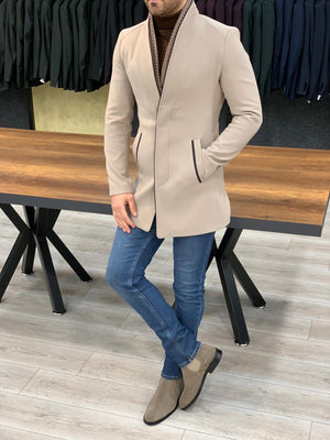 The Aster Beige Stamp Coat - Hollo Men
