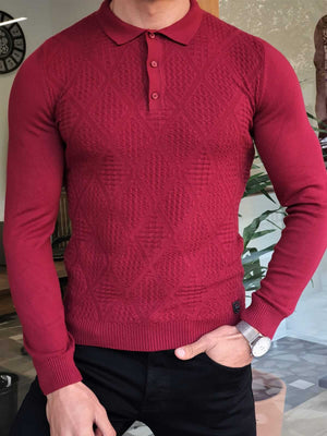 PATTERNED CLARET RED POLO COLLAR KNIT - Hollo Men