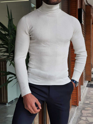 ECRU STRIPED TURTLENECK - Hollo Men