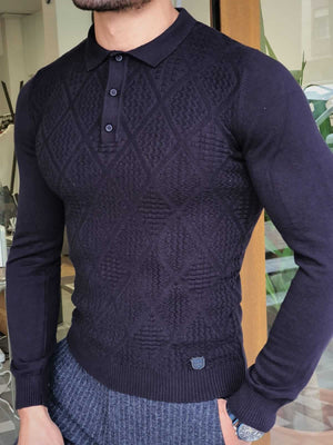 PATTERNED NAVY BLUE POLO COLLAR KNIT - Hollo Men