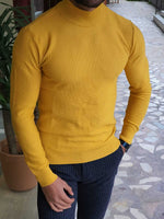 Patterned  Yellow Half Turtleneck - Hollo Men