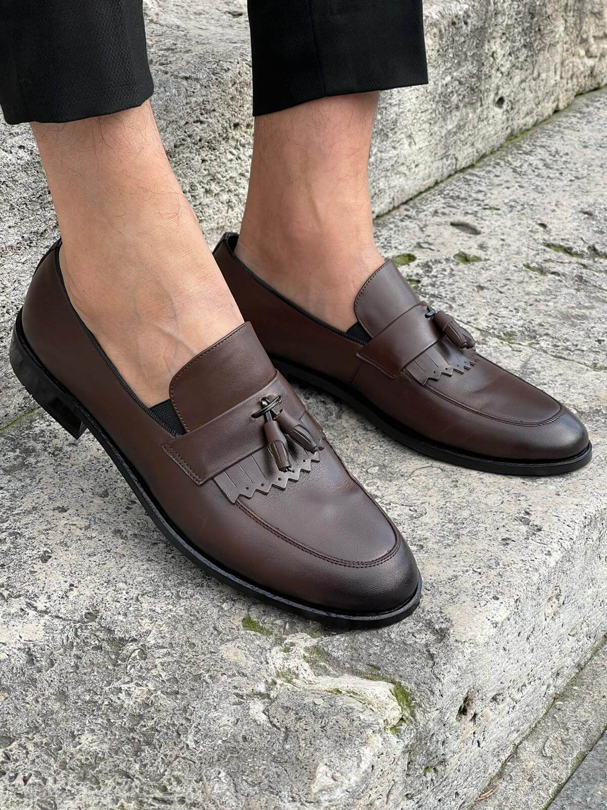 Coffee Tassel Loafer - Hollo Men