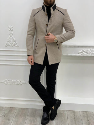 Slim Fit Cream Cashmere Coat - Hollo Men