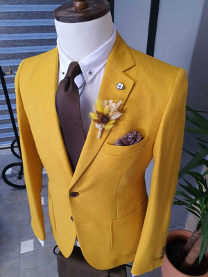 Yellow Linen Jacket - Hollo Men