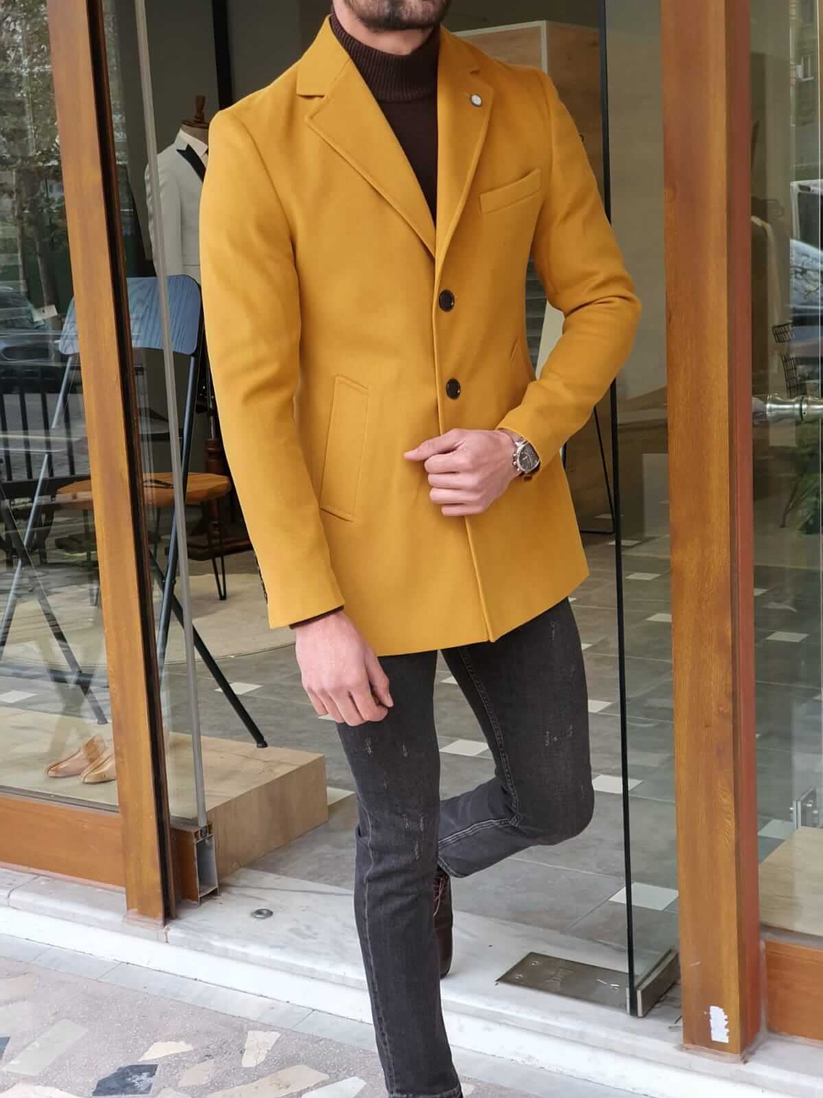 Colden Yellow Wool Coat - Hollo Men