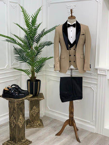 Berratte Beige Wedding Tuxedos - Hollo Men