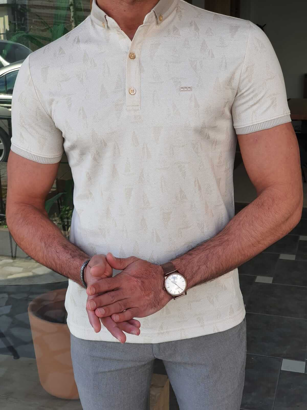 Beige Polo T-Shirt - Hollo Men