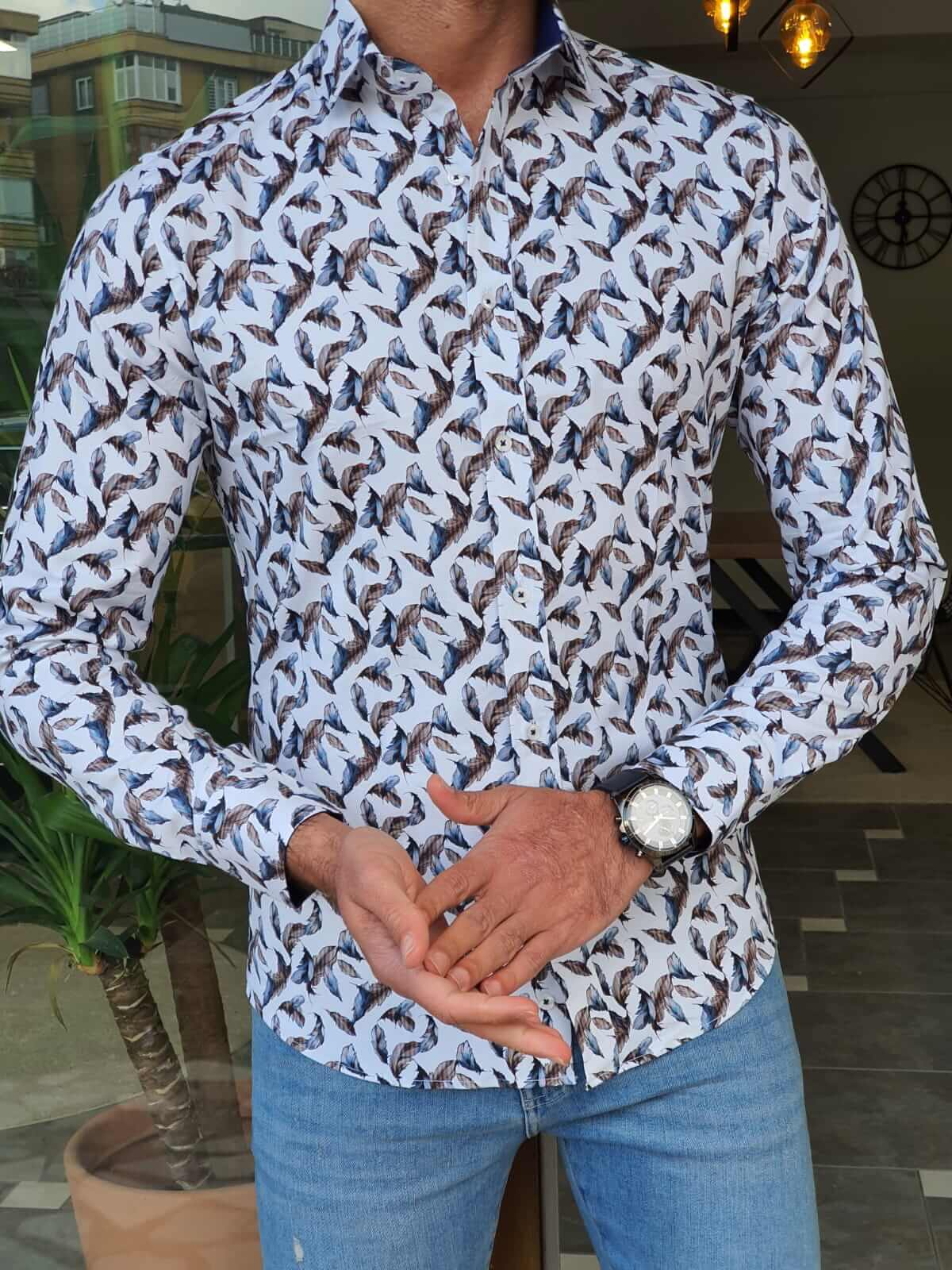 Navy Blue Patterned Shirt - Hollo Men