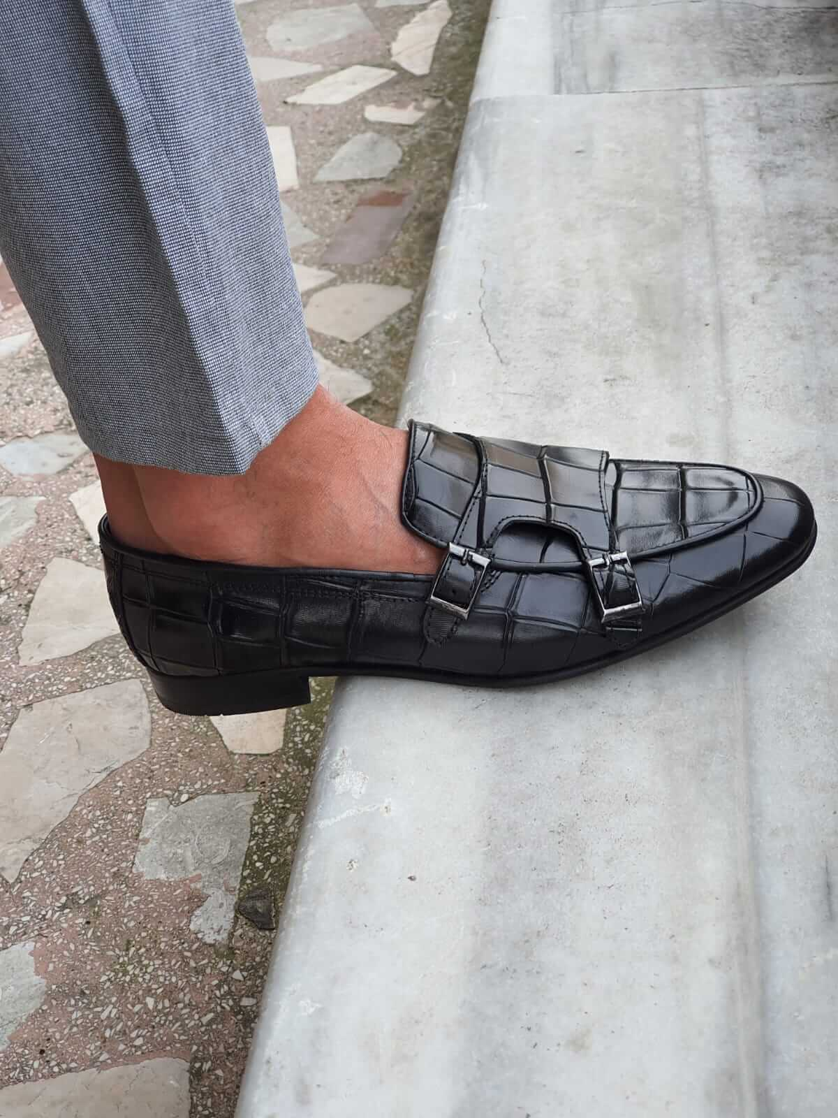 Croco Black Leather Shoe - Hollo Men