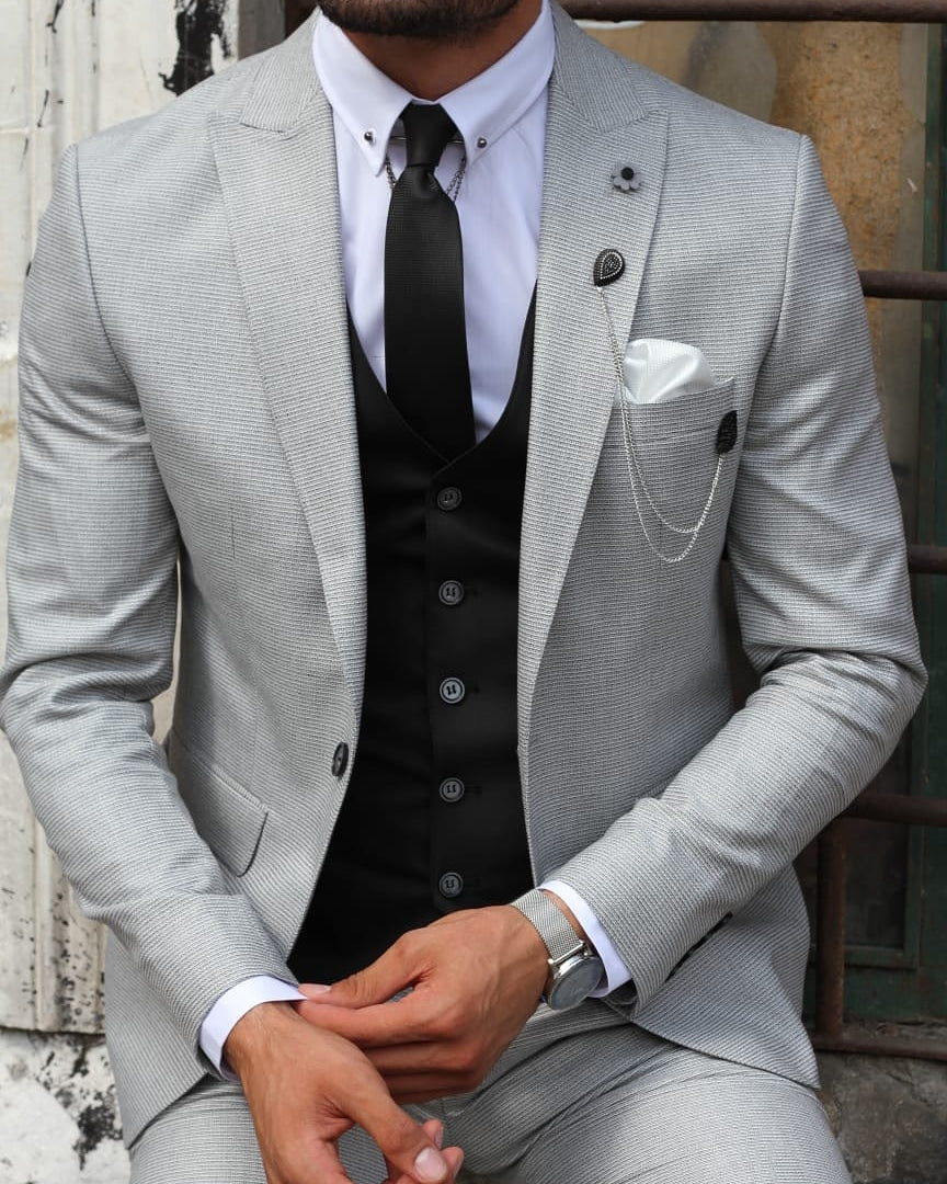 SLIM FIT GREY SUIT - Hollo Men