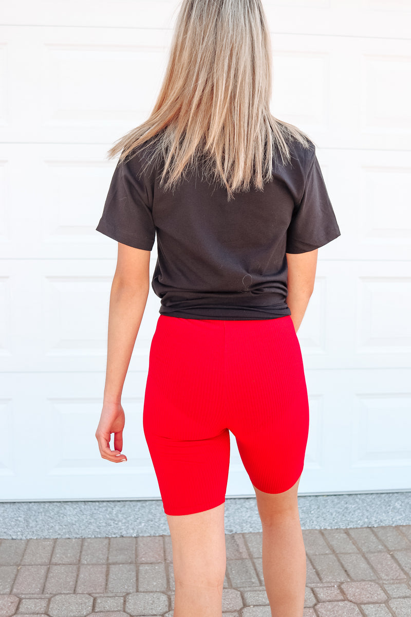 BASIC BABE RED RIBBED BIKER SHORTS ❤️