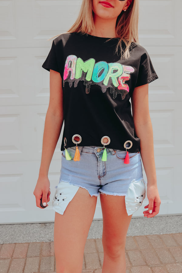 THAT'S AMORE SEQUIN & TASSEL TEE