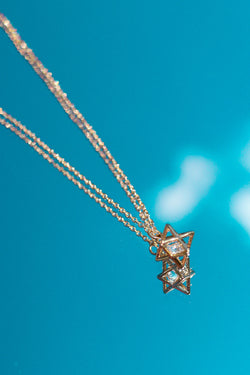 GOLD STARBURST BLING NECKLACE