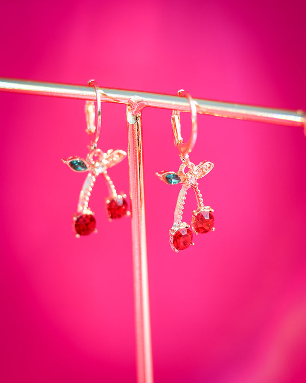 RED CHERRY DROP EARRINGS