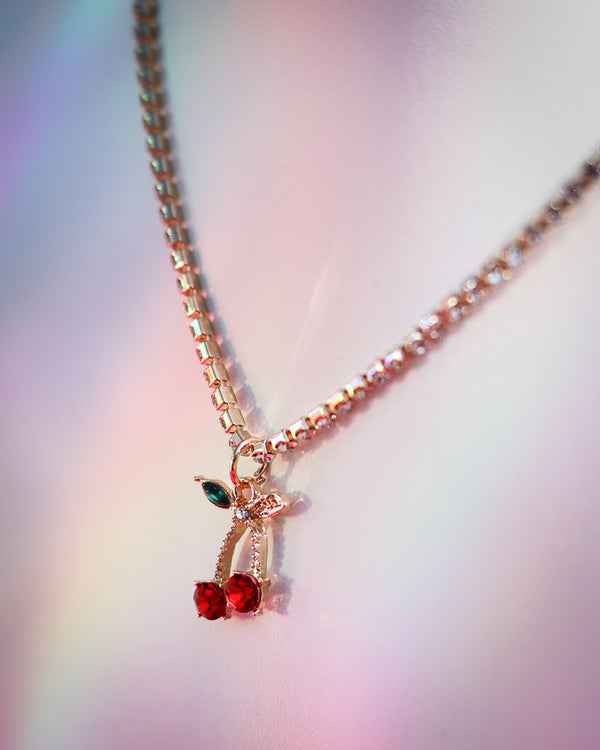 CHERRY BLING NECKLACE - Idol Style - affordable boutique