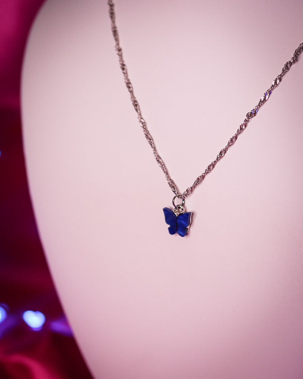 BUTTERFLY NECKLACE - SILVER/ROYAL BLUE