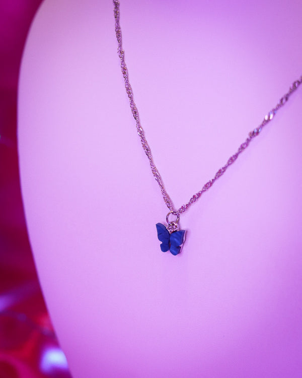 BUTTERFLY NECKLACE - SILVER/ROYAL BLUE - Idol Style - affordable boutique