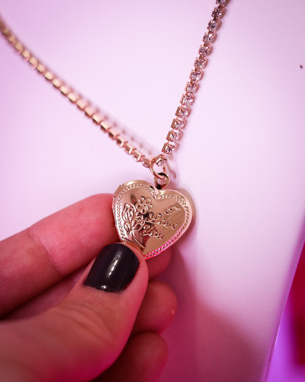HEART LOCKET BLING NECKLACE