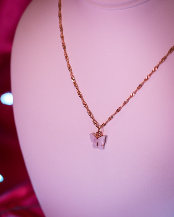 BUTTERFLY NECKLACE - GOLD/WHITE