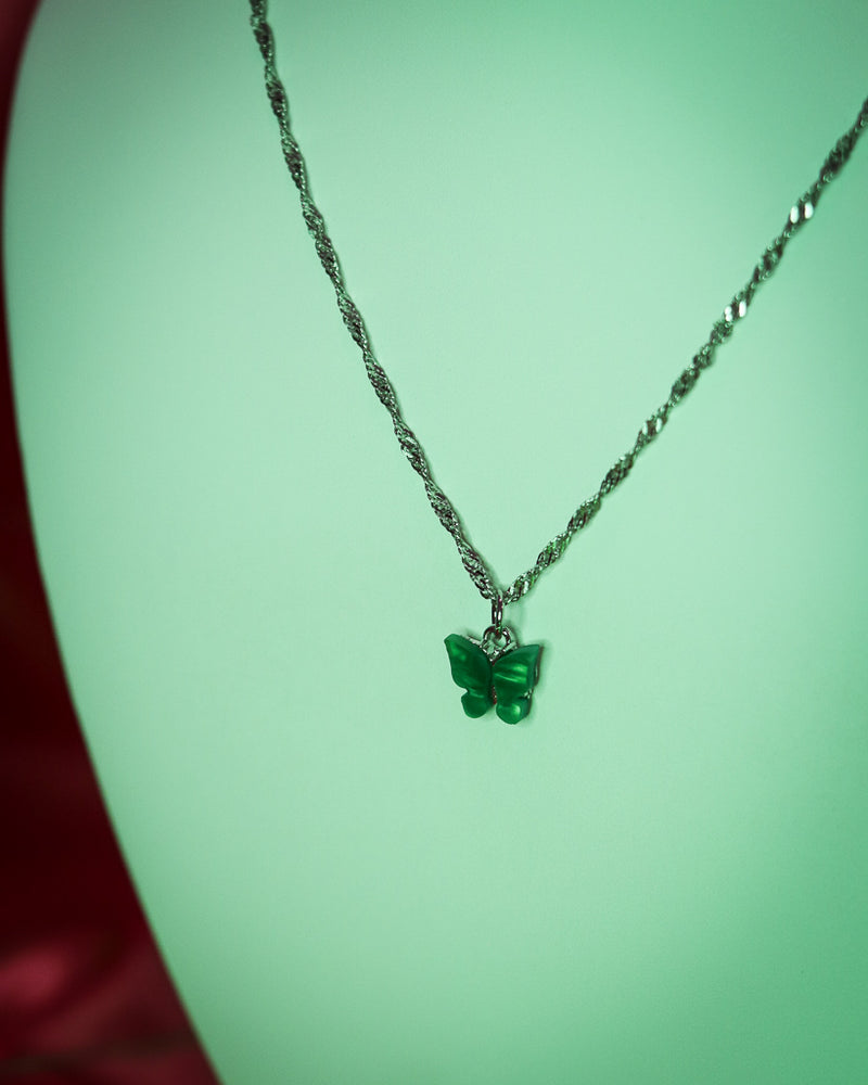 BUTTERFLY NECKLACE - SILVER/GREEN