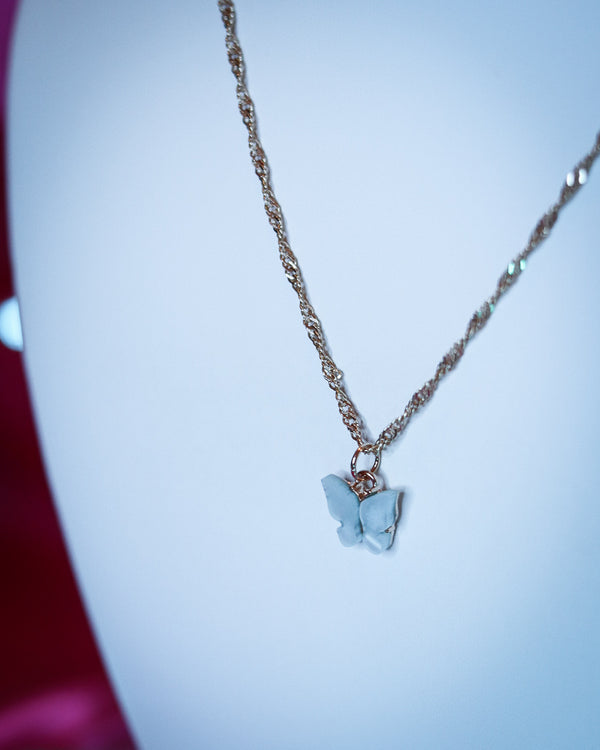 BUTTERFLY NECKLACE - SILVER/BABY BLUE - Idol Style - affordable boutique