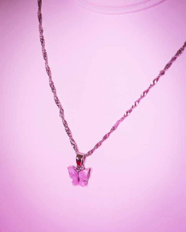 BUTTERFLY NECKLACE - SILVER/PINK - Idol Style - affordable boutique