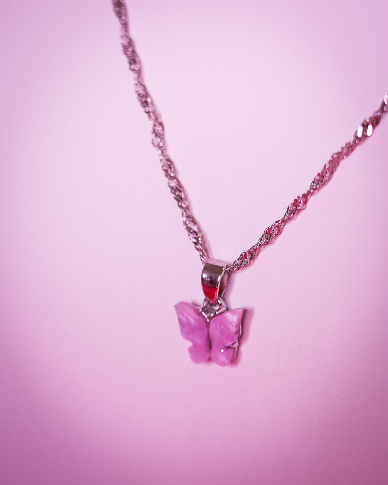 BUTTERFLY NECKLACE - SILVER/PINK