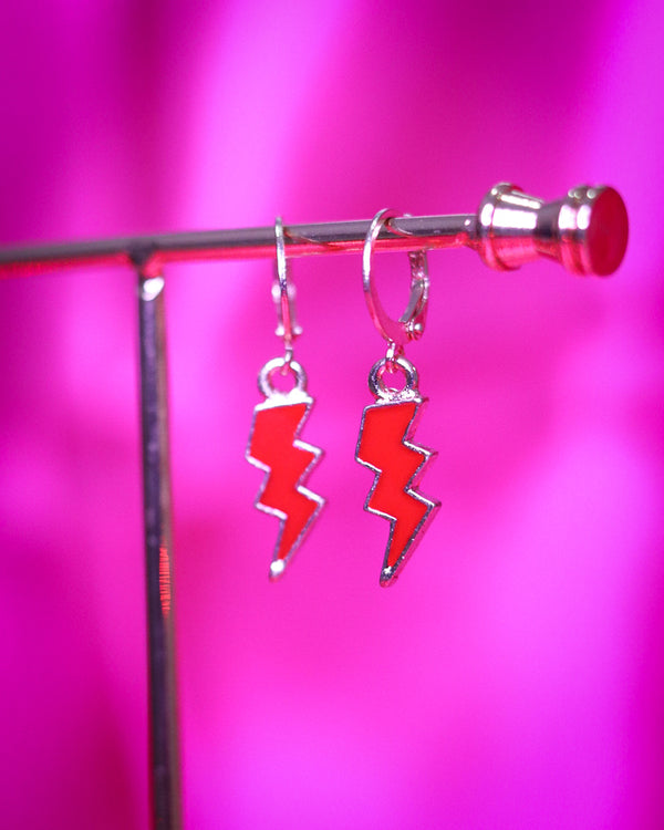 LIGHTNING BOLT EARRINGS - GOLD/RED