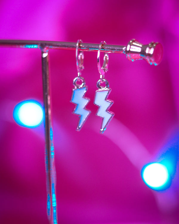 LIGHTNING BOLT EARRINGS - GOLD/BABY BLUE