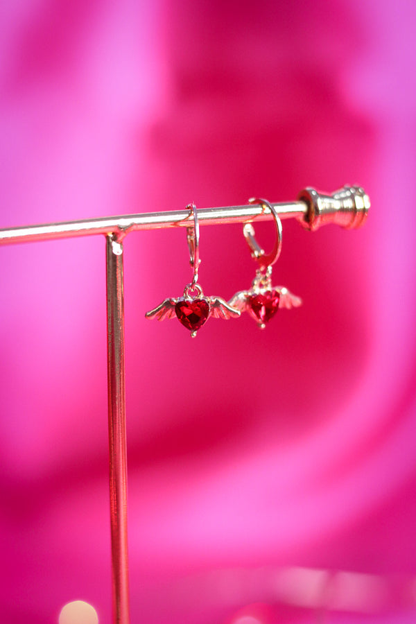 CUPID EARRINGS - GOLD/RED