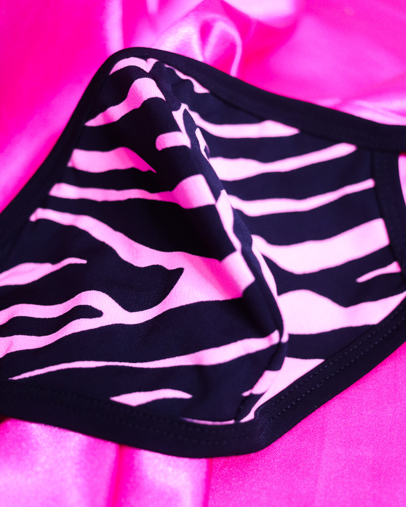 NEON PINK ZEBRA FACE MASK
