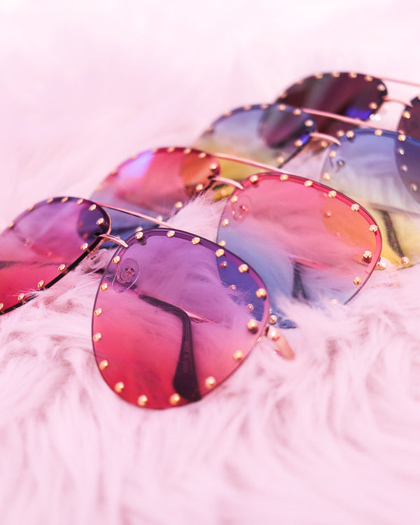 STUDDED OMBRE AVIATOR SUNGLASSES