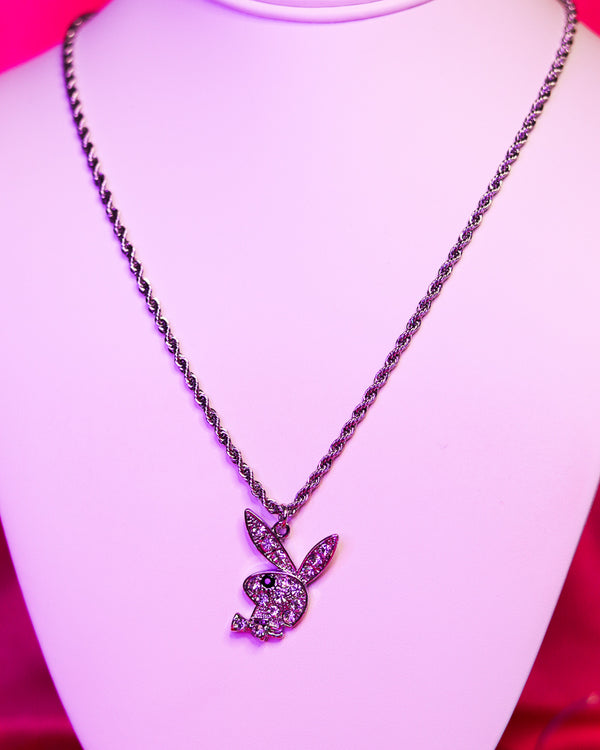 RHINESTONE BUNNY NECKLACE - CLEAR/SILVER