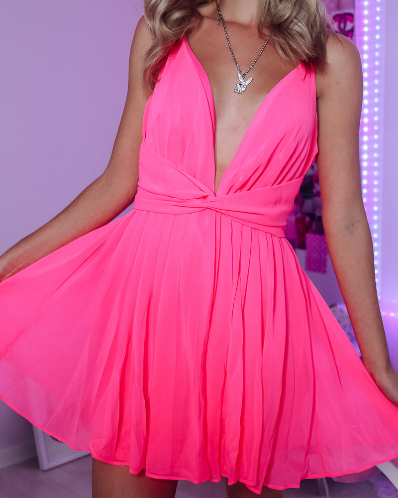 CHER CHIFFON TWIST DRESS - NEON PINK