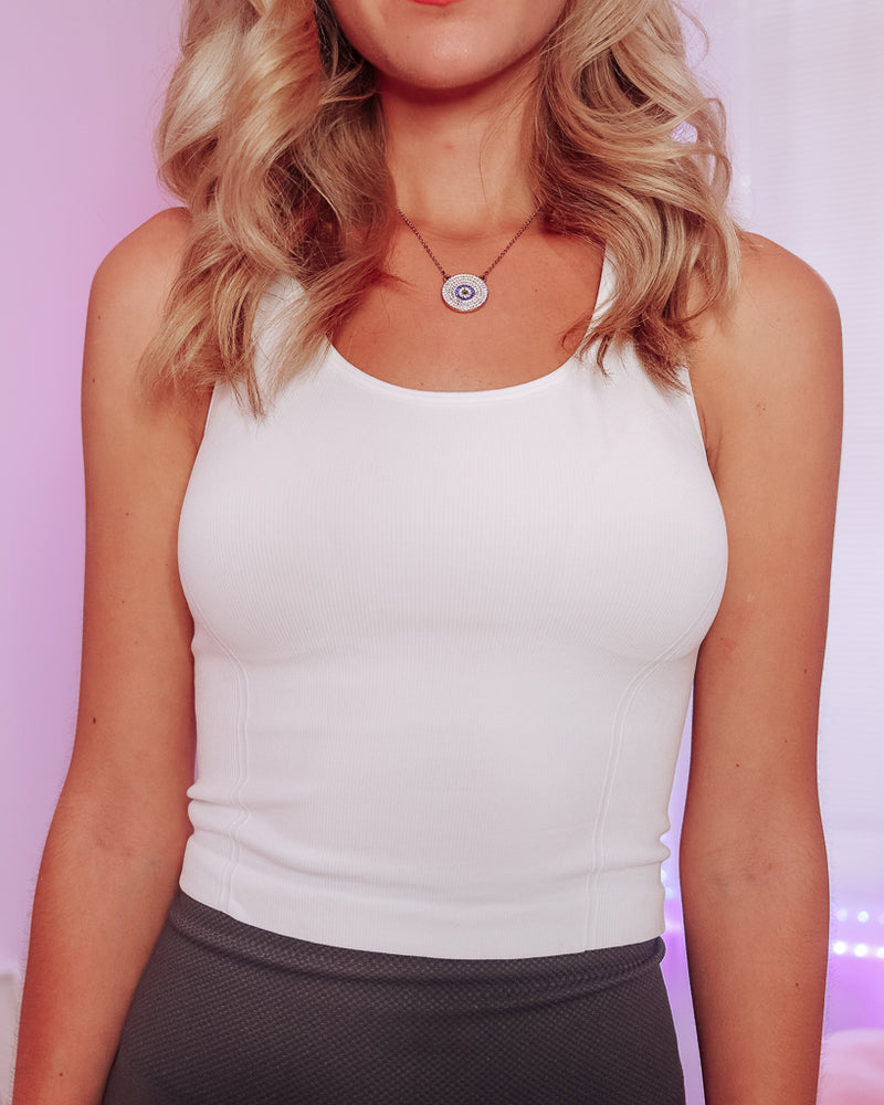 KEYHOLE CROP IT LIKE IT'S HOT TANK - WHITE